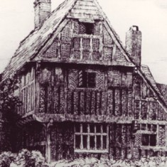 The celebrated engraver Robert Bryden visited East Meon in 1905 and made five engravings, including this one of The Tudor House.