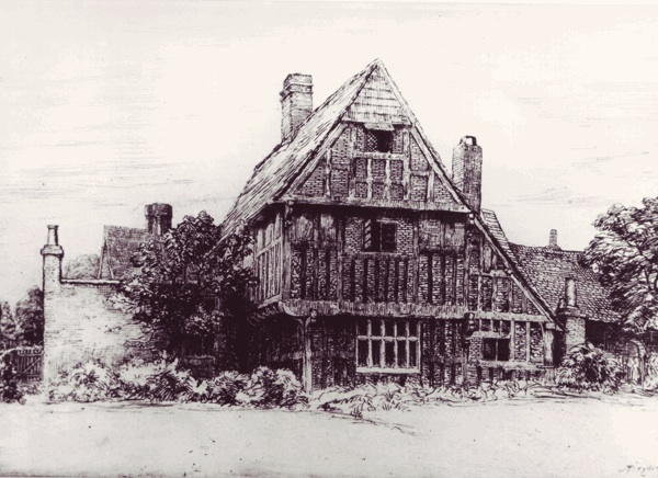 Engraving of The Tudor House by Robert Bryden, 1905