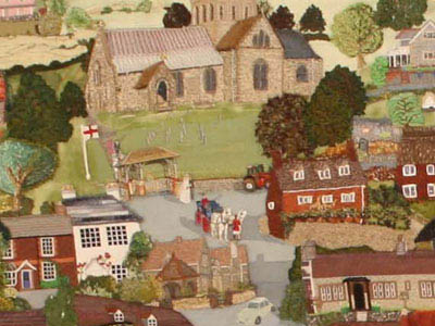 From the Millennium Embroidery, 2003. Wedding carriage outside All Saints.