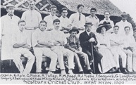 The Westbury cricket team, 1909. Colonel Le Roy-Lewis is wearing a boater and dark jacket, his wife and son on either side.