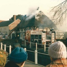 Fire at White Cottage, with spectators.