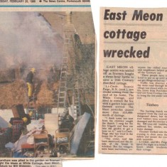 Photograph and article from Portsmouth News describing fire at White Cottage