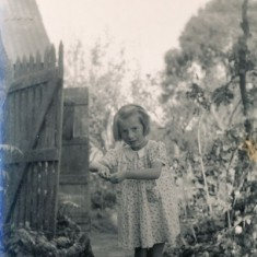 Olivia with chickens – the pig was kept nearby