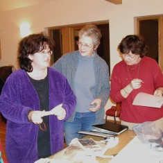 Working on the design, Margaret Ward, Sue Barrett and nk