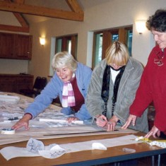 Working on the design, Margaret Ward, Sue Barrett and nk.