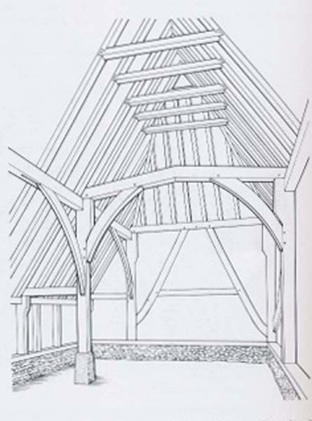 This diagram of structure of Forge Sound is taken from page 6 of Edward Roberts' book Hampshire Houses 1250 - 1700.