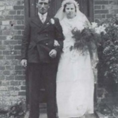 Alan Blackman, after his weddding, at the door of Rose Cottage, which used to stand alongside Heycroft but which no longer exists.