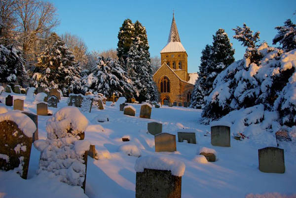The graveyard in snow, January 2010.