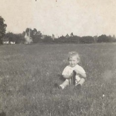 Margaret Files (now Perry) in Kews Meadow - a photo sent by his mother to Reg Files when he was in PoW camp in Italy