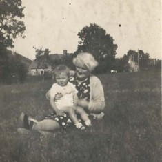 Margaret with granny in field, Kews Meadow - another of the photographs sent to Reg in Italy.