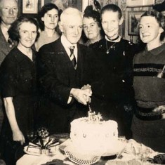 Clara Fisher, first lady from the right, with her father Robert, holding knife, and sister Dorie, next to him/