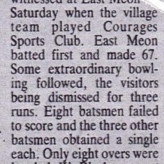 Newspaper report of W. Blackman taking 8 for 0 runs in 4 overs, in 1929