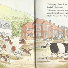 Cows and dogs in High Street, by Judy Brooks, showing All Saints Church, The Post Office (at the time), Glenthorne House (from the other direction).