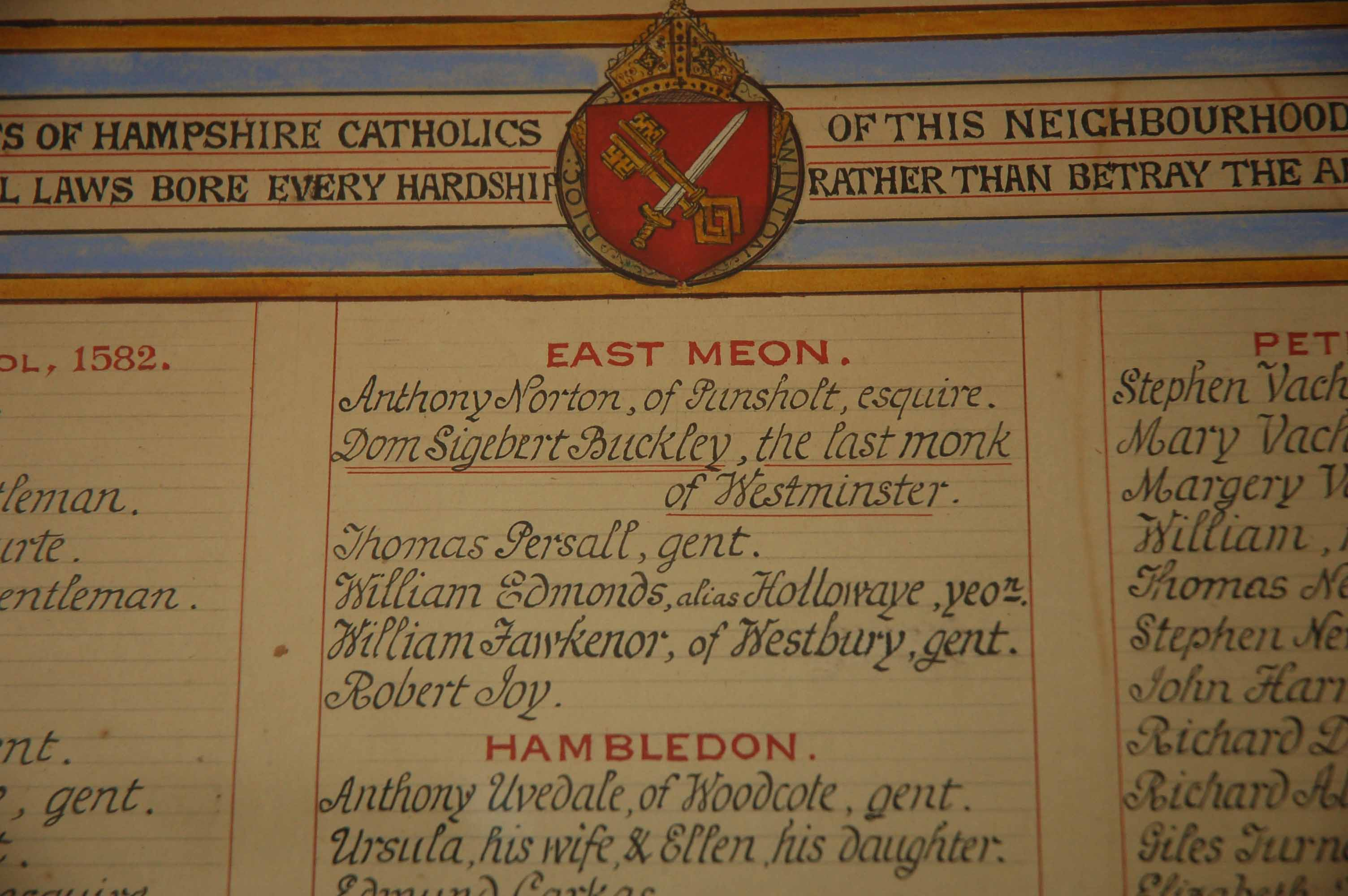 A plaque in St Laurence, Petersfield, commemorating Catholics who had suffered for
