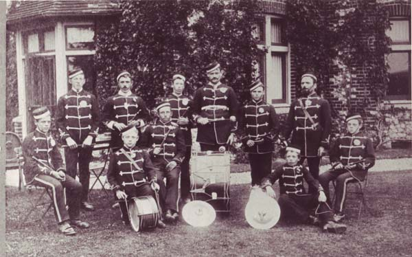 Fife & drum band at Langrish vicarage, 1898. Clara Fisher's father Robert is standing, second from left, and his father, Goerge, on the right.