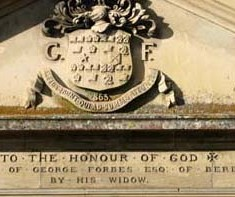 Inscription, recording the dedication of the Almshouses to George Forbes.