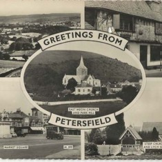 Greetings from Petersfield (East Meon in centre of montage).