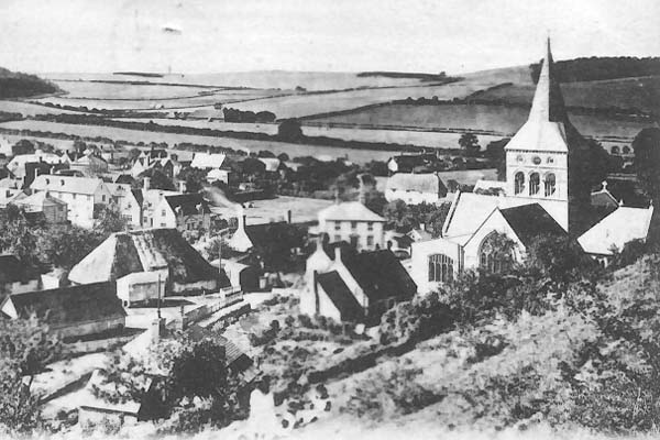 Engraving of All Saints and village from Park Hill. Cottage in churchyard and Court Farm barn. 1900s?