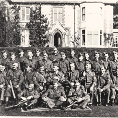 East Meon Home Guard, outside the Vicarage.