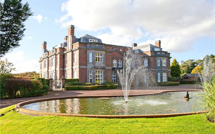 Front of Leydene House, with fountain.