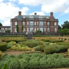 Leydene from south with garden pattern. The main house was converted into luxury apartments, and the mews into houses.