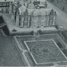 Leydene House, with the garden based on one of Lord Ashton's linoleum patterns. Work re-commenced in 1919 and the Main House was completed in 1925, although some rooms were occupied in 1924.  However, the original plans had to be curtailed slightly, as a result of the war devaluing the pound.  Some 'corners' were cut during the construction, such as a lack of damp course and some external walls only being one brick thick.  This caused a lot of problems in later years.