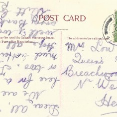 The reverse of the Bird's Eye Post Card. This stamp of George V was issued the year of his coronation, 1910. The text carries a date, sometime in the 1910s, but the last digit is not legible.