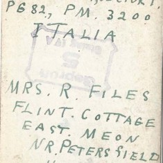 The reverse of the photo of Margaret. This is how the photograph was sent - no postage stamp - and delivered to Reg.