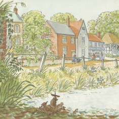 This page of Tim Mouse goes down the Stream shows the River Meon and the High Street, with The Country Store, owned by Judy Brook's father Geoff.