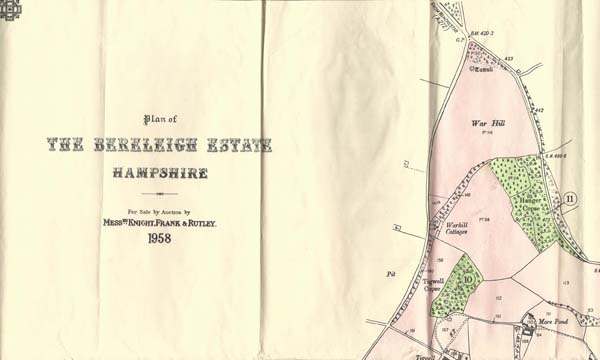 Sales map of Bereleigh Estate, 1958. It includes War Hill, Tigwell and Lower Bordean.