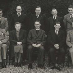 Village Hall Committee late 1940′s, left to right back row), W (Weary) Blackman , Herbert Goddard, Jack Porter, Frank Collyer, Rece Porter. Sitting, Doc. Clifford, Lady Margaret Nicholson, Reverend Watkins, Harry Wynn, George Wilson Atkinson.
