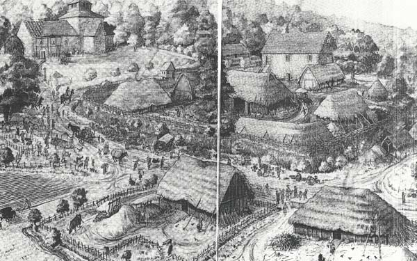 A brief history of East Meon. Artist's impression of Domesday village.