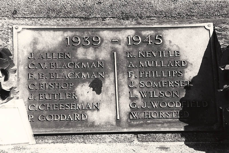 Names of East Meon men fallen in World War II.