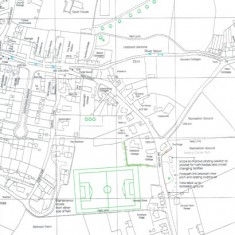 Plan for development of housing on Coombe road and soccer pitch at Belmont Farm