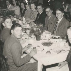 Dinner in the Institute - possibly a sports club - early 1950s. Far side of table, left to right, Bill Blackman, Jimmy Brown (wearing glasses), John Tosdevine, end of table Reg Lanham..