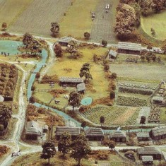 Domesday model of the River Meon and village housing.