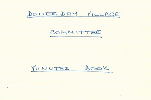 Domesday Year Minutes Book header