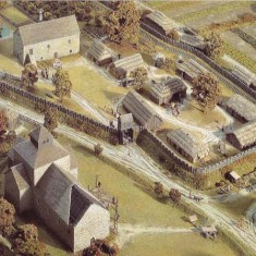 Domesday model of Church and Hall.