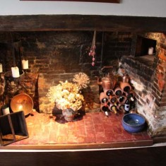 The kitchen side of the central fireplace (which was an innovation when the house was build in the early 1600s)