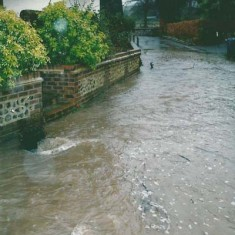 Frogmore Cottage in November 2001. The lane is prone to flooding.