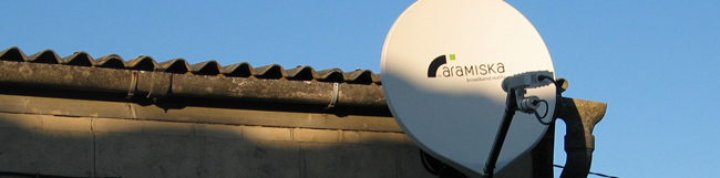 Garston satellite dish, receiving the signal which was fed to the village.