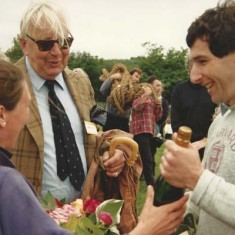 On the left, Susan Davenport and, centre, John Simpson, then chair of the Village Hall Committee, were the two responsible for the re-launch of the fete as a full-blown Country Fair. (Susan's husband Graham is receiving the bottle of champagne.)