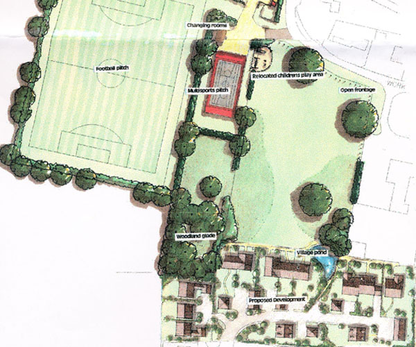 HGP plan with football field to the west and housing at south end of Kews Meadow.
