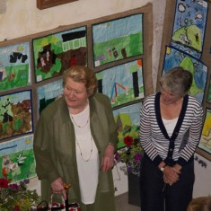 Patricia Routledge and Clare Bartlett with exhibition of children's art