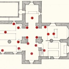 Plan of church, shoing positions of arrangements.