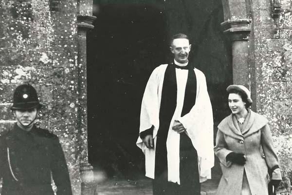 Princess Margaret leaves All Saints Church in 1984, accompanied by the vicar, Rev Rodney Smith.