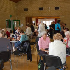 Tea and cakes in the Village Hall. The moneys raised go towards the maintenance of the Hall.