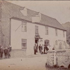 Villagers outside The George, date unknown