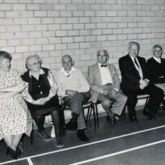 Left to right, Lily Nicholson, Shirley Newbury, Bessy Dowlen, Charlie Dowlen, Eddit Stubbington, Arthur Newbury, Jean Berry, John Berry