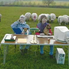 Anella Parker Martin, left, and Sasha Brooks, both chairmen of the Fair at different times, helping organise the 2013 event which was held in Fair Field, South Farm.